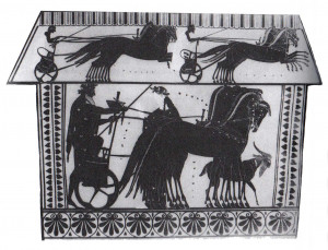 cene in the underworld. Dionysos mounting a chariot is about to ...
