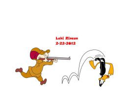 Elmer Fudd cant shoot Daffy Duck by L-Rid