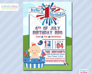 4th of July 1st Birthday Invitations for a Girl (433)
