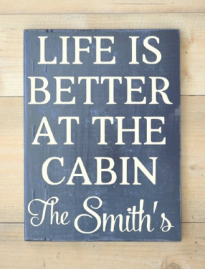 Cabin Sign Personalized Family Name Wooden Signs River Mountain Lake ...