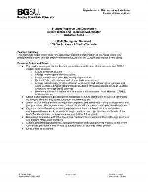 Student Practicum Job Description Event Planner And Promotion picture