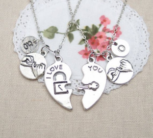 Pinky Promise, I LOVE YOU quote necklace, initial necklace, matching ...