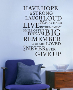 Have Hope BE Strong... 0772 Wall Decal Quote Wall Lettering Art Words ...