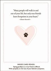 Pet Sympathy Card Pawprints