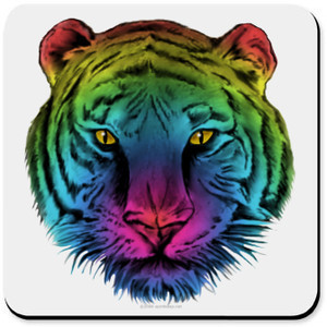 Gay Pride Rainbow Tiger Cork Bottom Coaster - Gay Pride Rainbow Tiger ...