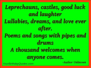 Irish Quotes About Life And Happiness: A Thousand Welcomes When Anyone ...