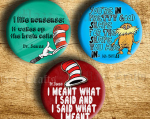 quotes inspired handmade pin back button badge 1 inch cat in the hat ...