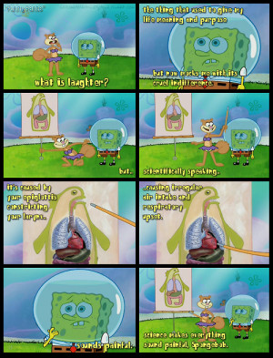 consults with sandy about his laughter spongebob 4 05b funny pants