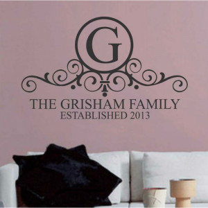 ... Last Name Initial EST Date Wedding Vinyl Wall Quotes Lettering