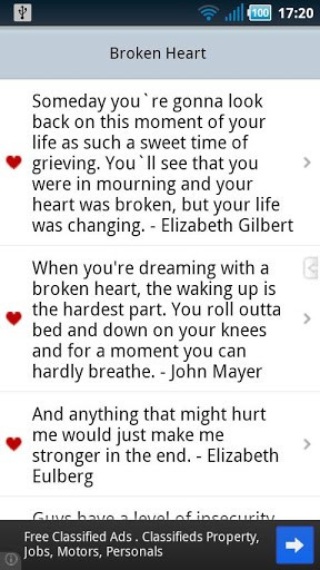 Collection of famous quotations for those with a broken heart.