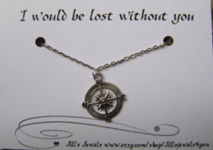 Best Friend Compass Necklace and Quote Inspirational Card- Bridesmaids ...