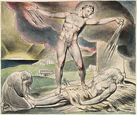 ... of Job , Satan pours on the plagues of Job, by William Blake