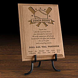 Personalized Baseball All-Star Coach Wooden Plaque