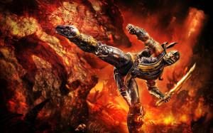 mortal kombat scorpion fire sword hd wallpaper