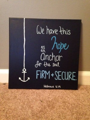 Acrylic canvas painting anchor hope quote by CreationzForHim, $24.00