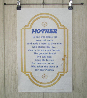 Mother scroll mini poster quote vintage 1970's