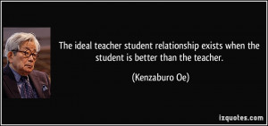 The ideal teacher student relationship exists when the student is ...