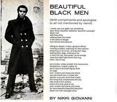 "Beautiful Black Men"" by Nikki Giovanni ... Black Love ... Black•L ..."