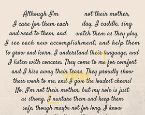 Stepmother Poems Caregiver/daycare poem print