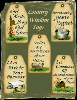 Primitive Country Wisdom Sayings WORD ART Tags Digital Printables
