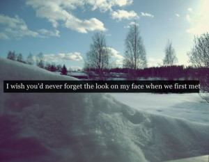 wish you'd never forget the look on my face when we first met.