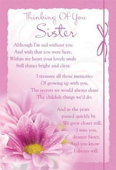 Missing My Sister in Heaven Poems | Sister : I Miss Those Who Are ...