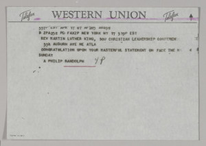 Telegram from A. Philip Randolph to MLK