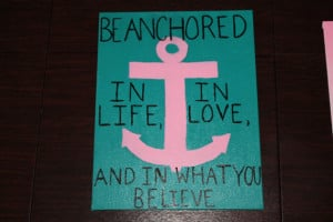 Anchor Canvas Painting, Quote, Pink and Teal, Paintings by ...