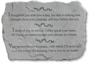 thought of you with love today memorial stone