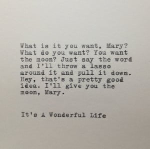 It's A Wonderful Life Quote Typed on Typewriter