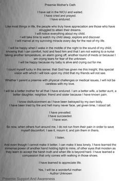 Preemie mom oath. Made me ball my eyes out. Love my little baby girl ...