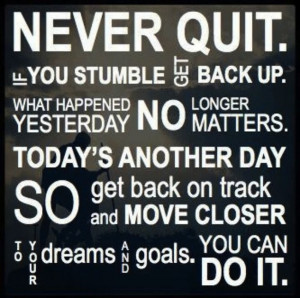 never give up you can do it quote