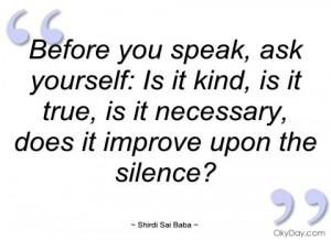 before you speak shirdi sai baba