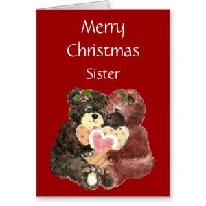 Irmã do Feliz Natal, abraços de urso do ursinho Cartao
