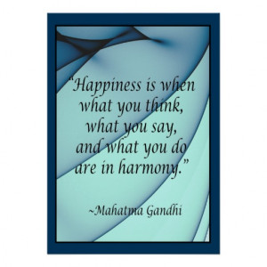 Happiness Harmony Gandhi Quote Poster