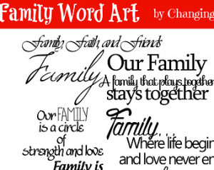 The Word Family In Different Fonts 50% off - family word art