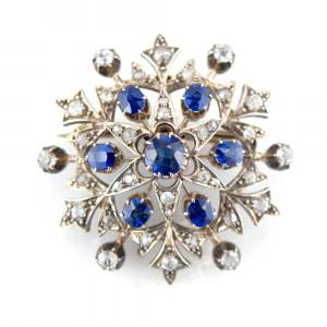 Home Diamond and Blue Sapphire Star Brooch