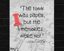 John Green Paper Towns John Green M ovie Quote Poster Book Art ...