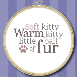 10) Name: 'Embroidery : Soft Kitty Quote - Cross Stitch Chart