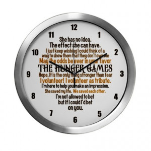 ... Gifts > Cinna Living Room > Hunger Games Quotes Modern Wall Clock