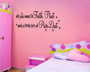Details about Tinkerbell Faith Trust Pixie Dust Wall Quote Home Decor ...