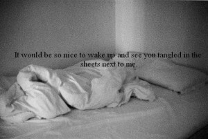 It would be so nice to wake up and see you tangled in the sheets next ...
