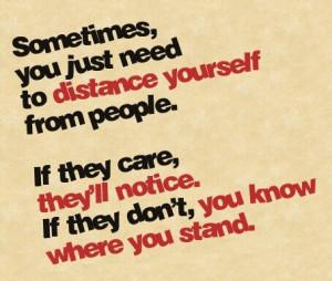 Distance between friends.