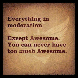 Everything in moderation except Awesome... Never can have too much ...