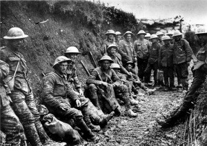 Reality: Troops are seen in a trench in France during the First World ...