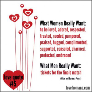 What women really want: to be loved, adored, respected, trusted ...