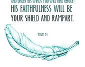 Scripture Art Bible Verse Feathers Psalm 91