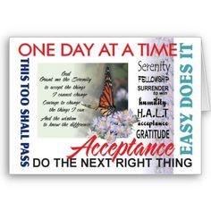 AA slogans sobriety anniversary / birthday card. $2.95 #sobriety # ...