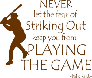 Baseball Quote Babe Ruth Playing The Game Vinyl Wall Decal Boys ...