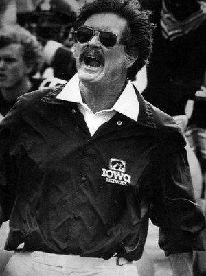 Hayden Fry coached the University of Iowa football program from 1979